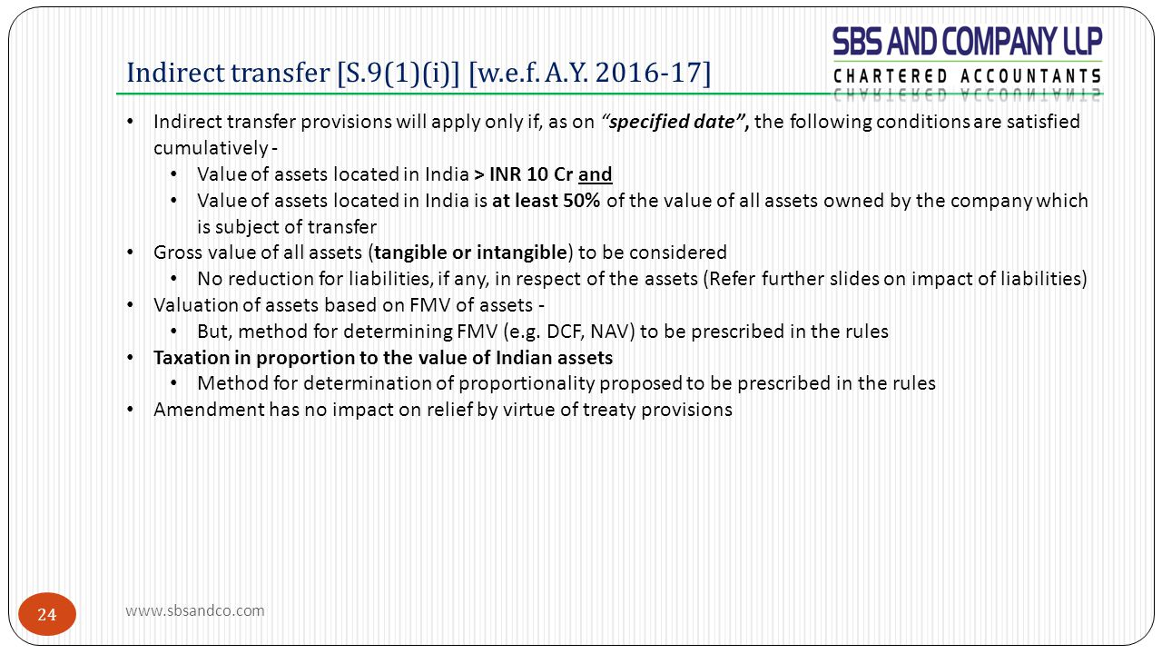 Indirect transfer [S.9(1)(i)] [w.e.f. A.Y. 2016-17]